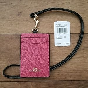 Coach ID Case Lanyard F77903 Colorblock Rouge